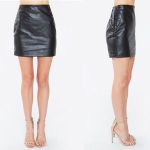 (Sugarlips) Faux Leather Lace Up Skirt